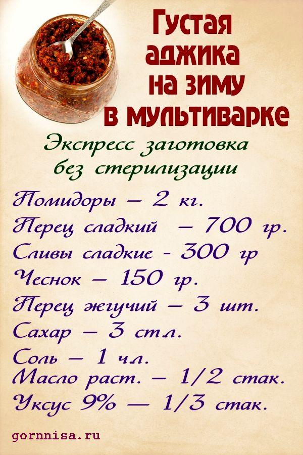 Быстрая заготовка: Густая аджика на зиму в мультиварке. https://gornnisa.ru/