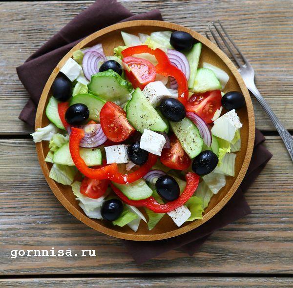 Греческий салат. Классический рецепт  https://gornnisa.ru/
