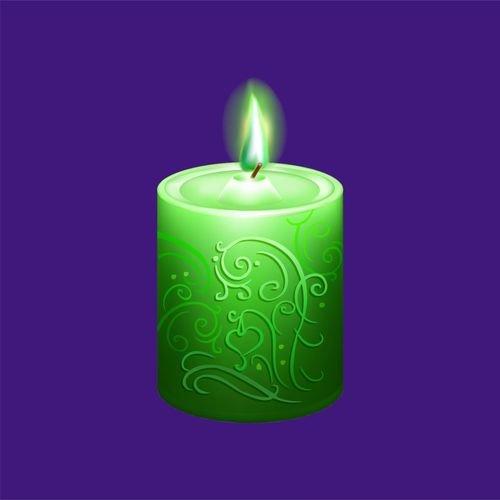 Свеча 5 - зеленая