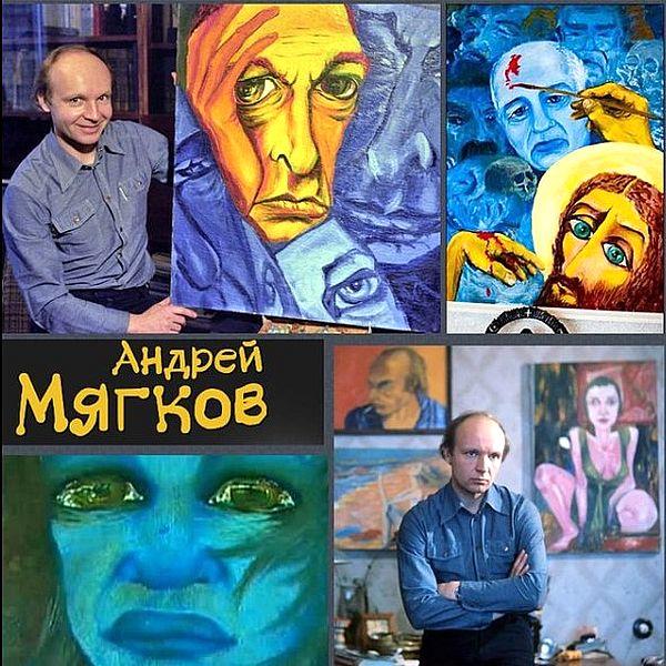 Андрей Мягков на фоне своих картин