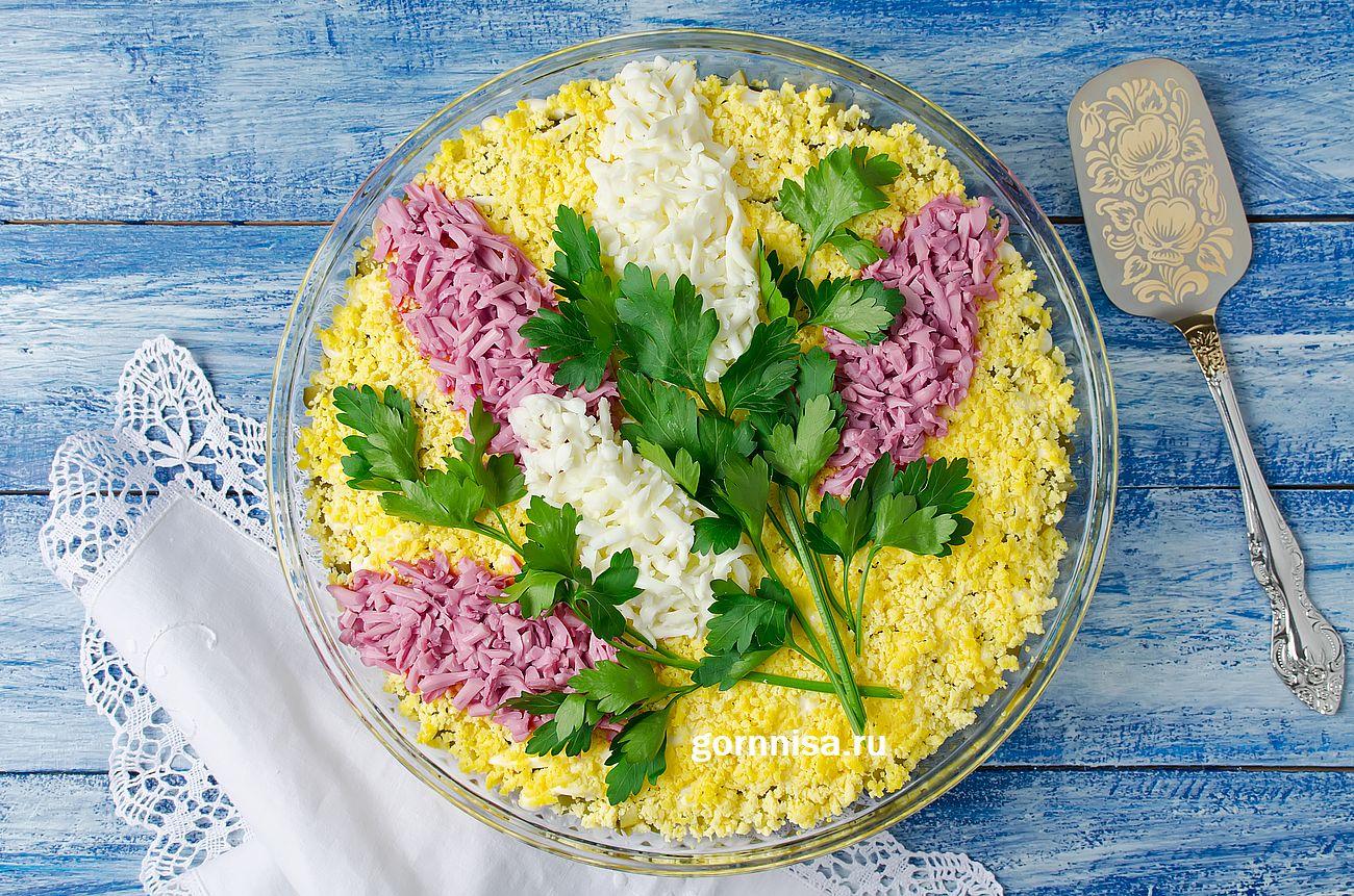 Праздничный слоеный салат «Сирень» - Простой рецепт