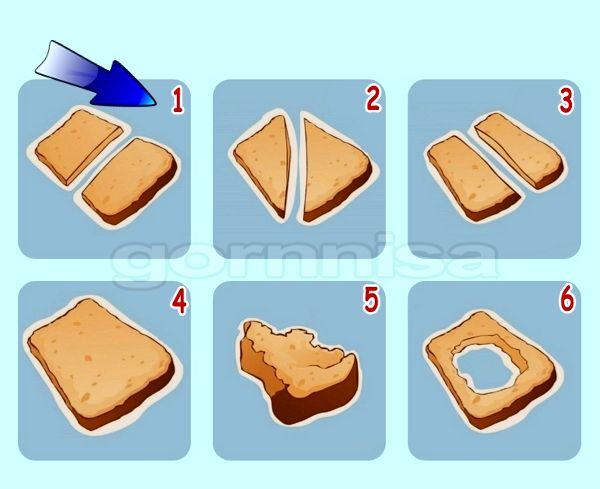 Тест на особенности личности - Как человек режет хлеб https://gornnisa.ru/ Вариант 1